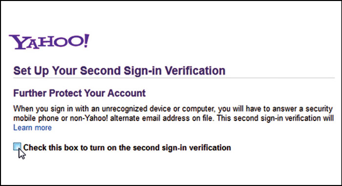 Fig. 16: Enabling two-step verification for a Yahoo! account (Credit: Yahoo!)