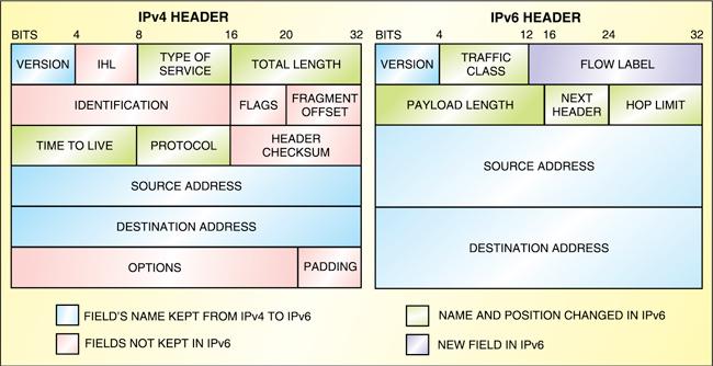 Fig. 3: IPv4 and IPv6 headers