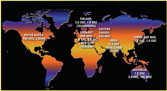 LTE around the world (Courtesy: www.wirelessweek.com/Articles/2011/02/LTE-Across-Spectrum/)