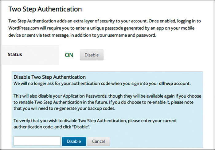 Fig. 18.1: Two-step verification for a WordPress account (Credit: WordPress)