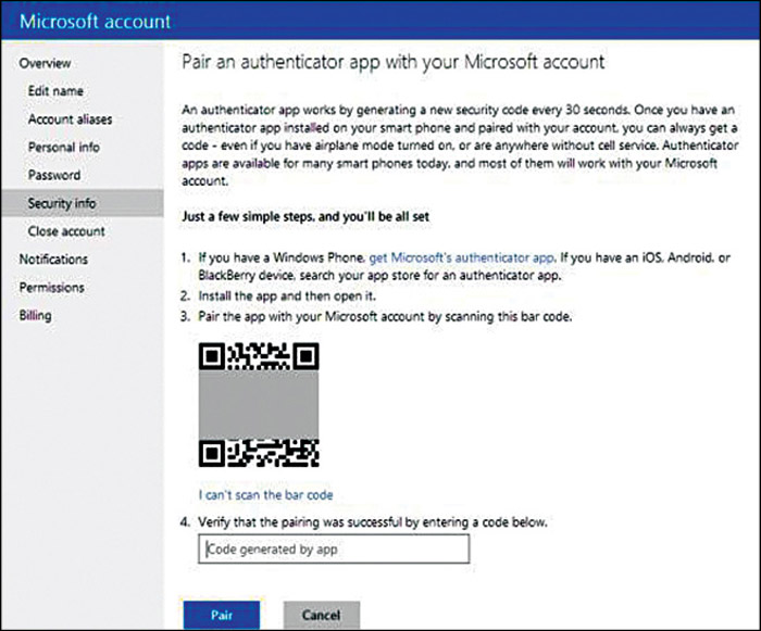 Fig. 14.5: Pairing an authenticator app with a Microsoft account (Credit: Microsoft)