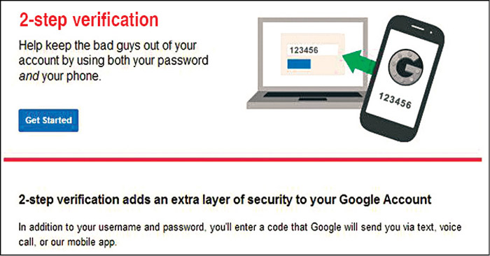 Fig. 11.1: Two-step verification for a Google account (Credit: Google/Gmail)
