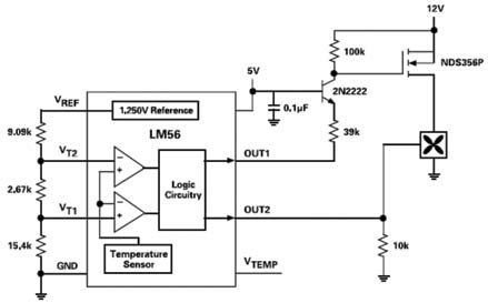 Smart cooling fan controller, based on the LM56 temperature sensor IC, that turns the fan on at one temperature, then increases its speed if temperature rises above a second threshold