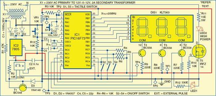 Fig. 1: Circuit of the LED stroboscope
