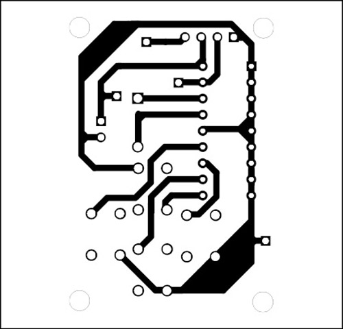 Fig. 4: Actual-size, single-side PCB for the remote