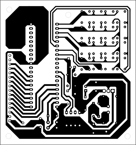 Fig. 2: An actual-size, single-side PCB for the circuit