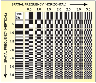 Fig. 8: DCT wave table illustrating the spatial frequencies represented by each DCT cell
