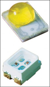 On top is a standard LED, and the bottom of the image shows a high-power LED that provides approximately three-times-higher light output and in a package that is half the size of a standard LED's package
