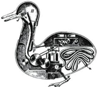 Vaucanson's digesting duck developed in 1739