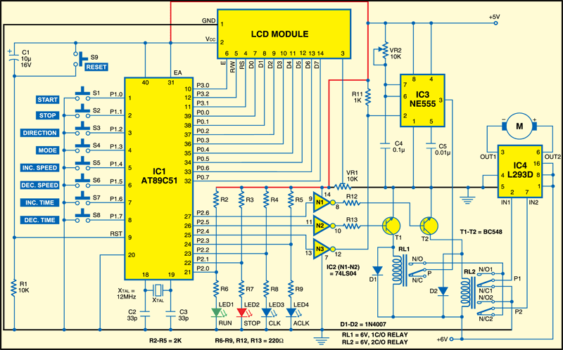 Circuit of the microcontroller-based DC motor controller