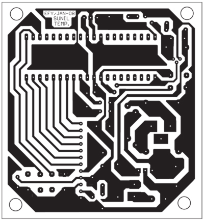 Fig. 2: Actual-size, single-side PCB for the temperature indicator-cum-controller