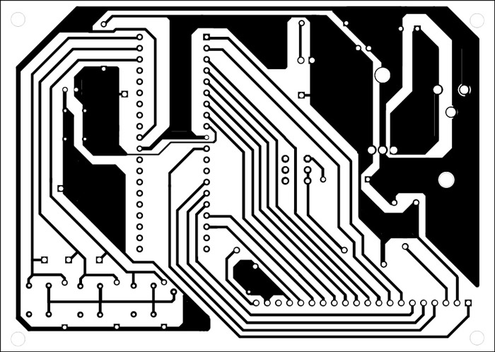 Fig. 4: An actual size, single-side PCB for the Space Invaders hand video game