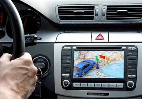 Car dashboard with gps panel