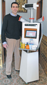 The author, Antonio Espingardeiro, has created the P37 S65 robot that has the ability to remind elderly people to take their medication and exercise, and it can even tell jokes