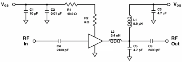 Figure 3. 1 GHz, 15W, Integrated GaN Amplifier Application
