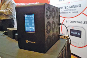 Fig. 2: A bitcoin mining hardware set-up that uses custom chips known as ASICs to focus their processing power on bitcoin algorithms (Source: www.datacenterknowledge.com)