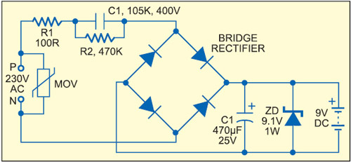 Fig. 6: Capacitive power supply with transient and EMI protection