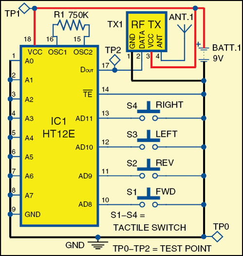 Fig. 2: Circuit of remote control