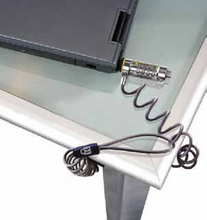 Fig. 1: Laptop fastened to a table with a security lock