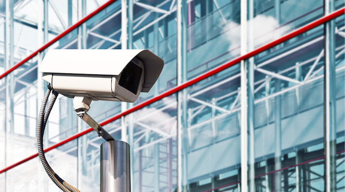 Security camera installed at a modern office