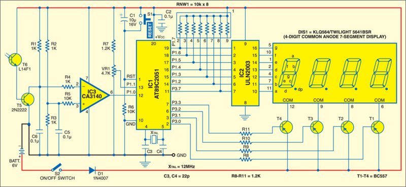 Fig. 1: Circuit of microcontroller-based tachometer