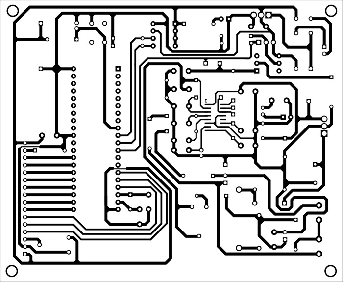Fig. 4: An actual-size, single-side PCB for the energy meter
