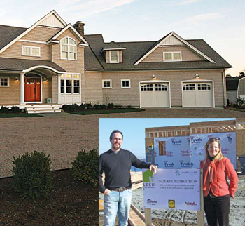 Green Life Smart Life (GLSL) model house with its owners (inlay) Joe and Kimberly Hageman