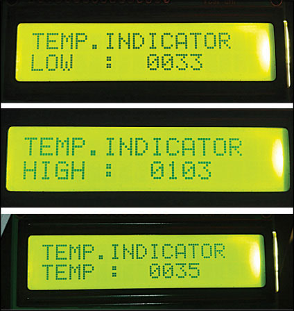 Fig. 1: LCD display for the temperature controller
