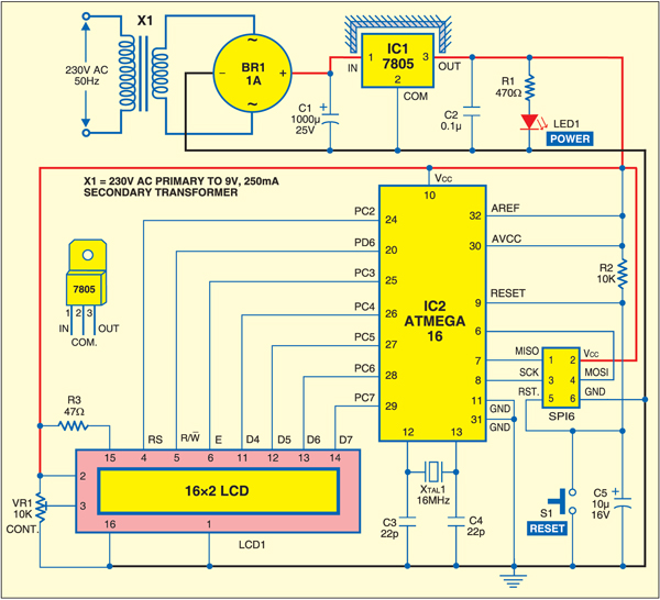 Fig. 1: Circuit for AVR microcontroller-based moving-message display on the LCD