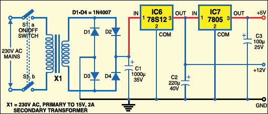Fig. 4: Circuit for regulated power supply