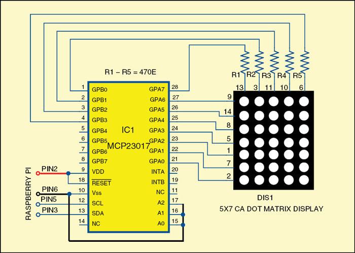 interfacing dot matrix led with raspberry pi page 2 of 2 rh electronicsforu com 16x32 led matrix circuit diagram dot matrix led display circuit diagram