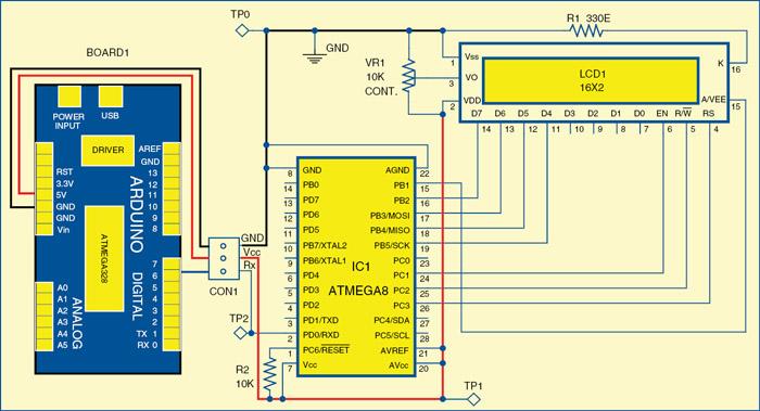 Fig. 2: Circuit diagram of serial LCD module
