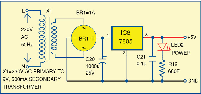 Fig. 3: Additional power supply for the counter circuit