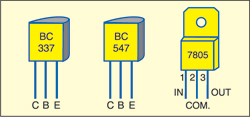 Fig. 4: Pin configurations of BC337, BC547 and 7805