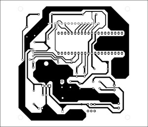 Fig. 4: An actual-size, single-side PCB for the