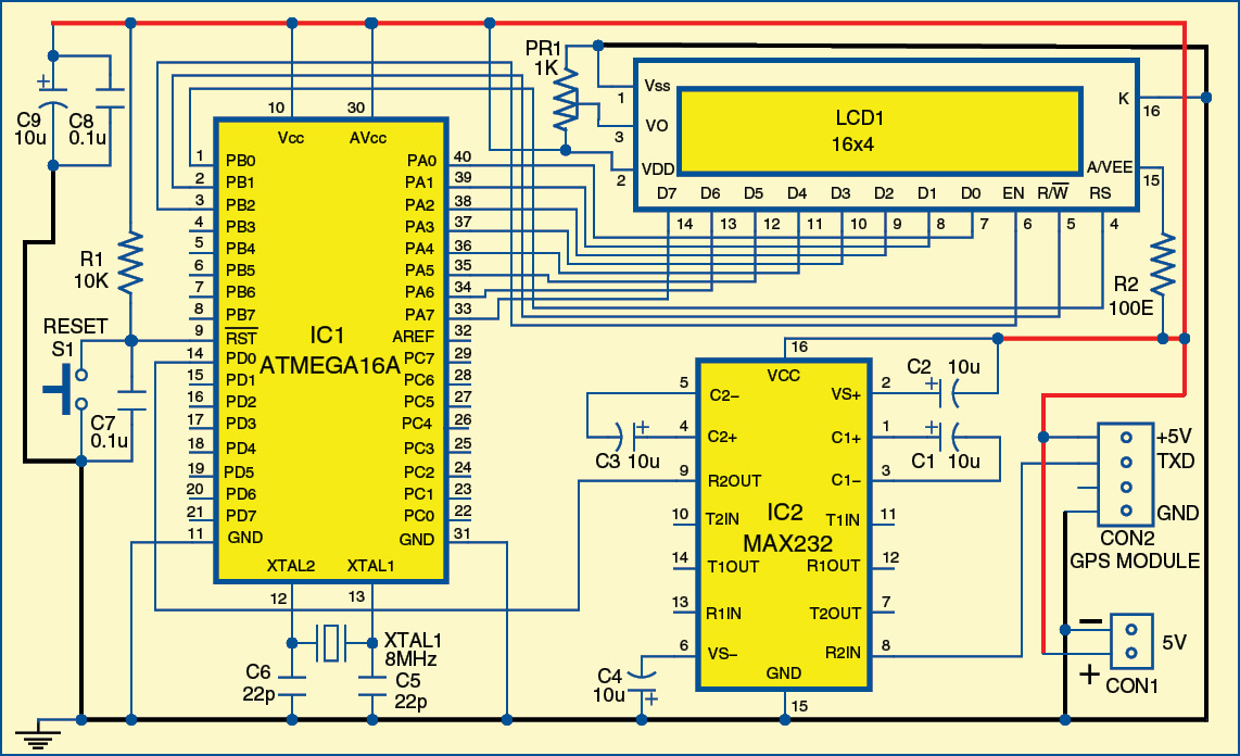 Microcontroller Projects Atmega16a Based Gps Receiver Electronics Robot Using Avr Atmega 8 Circuit Diagram Code
