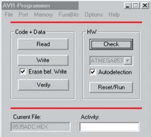 Fig. 5: Screenshot of AVR-Programmer showing activity window