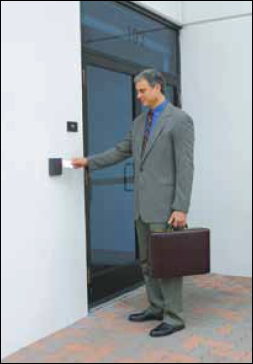Fig.1: A user is trying to open the door by placing an RFID tag near the RFID reader