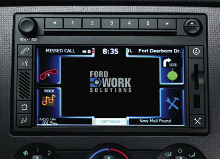 In-dash computing device with internet connectivity via embedded 3G modem, hands-free phone functionality, Garmin navigation and mobile office productivity applications in truck cabin (Courtesy: www.fordworksolutions.com)