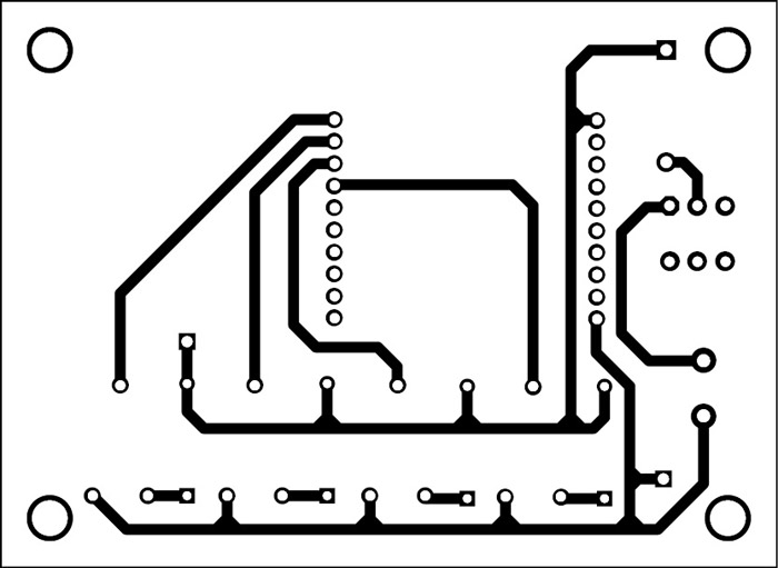 Fig. 7: An actual-size PCB pattern for XBee-controlled aircraft (transmitter side)