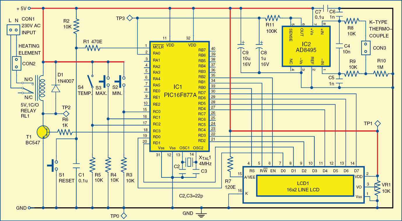 Digital Temperature Controller | Full Circuit Diagram With Explanation