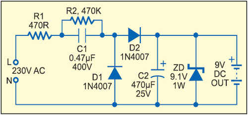 transformerless power supply with full circuit diagrams rh electronicsforu com transformerless power supply 12v 3a circuit diagram 5v transformerless power supply circuit diagram