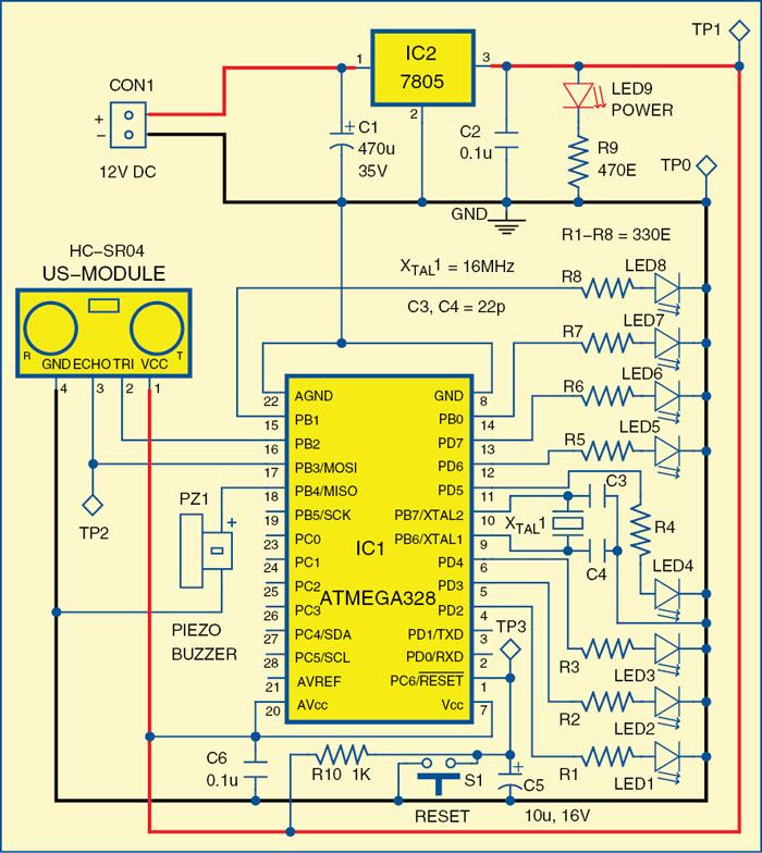 Fig. 1: Circuit diagram of the car-reversing audio-visual alarm