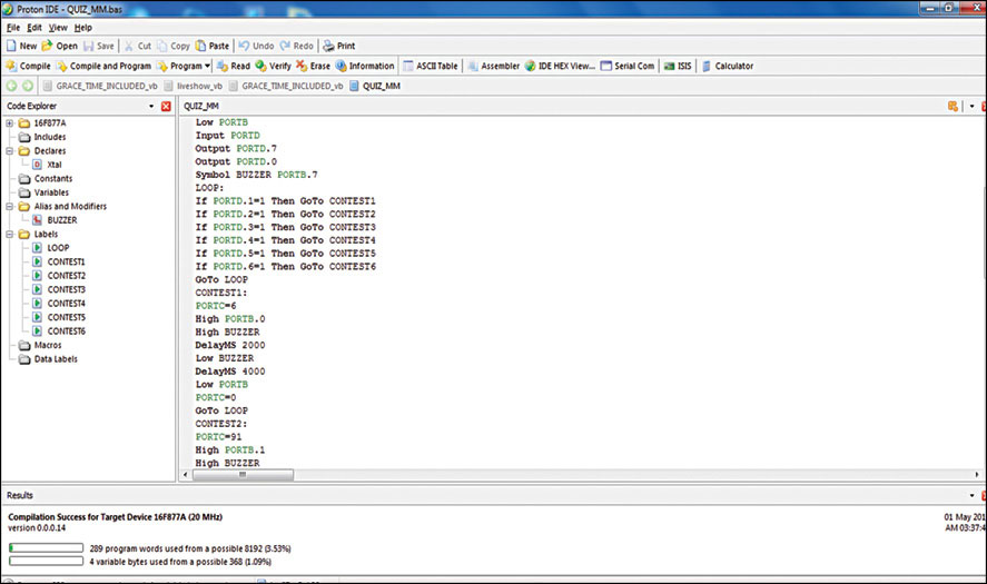 Fig. 3: Code compilation in Proton IDE