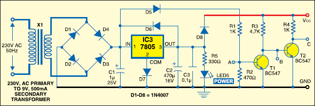 Fig.1: Power supply and zero-crossing detector circuits