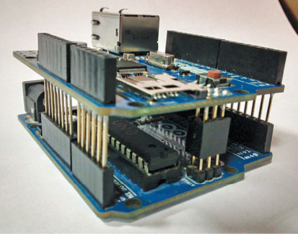 Fig. 4: Ethernet shield on top of Arduino