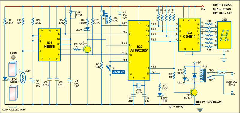 Fig.1:Put-coin-and-draw-power circuit