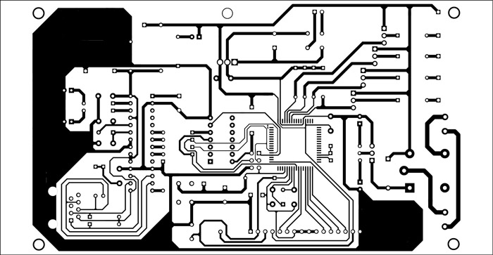 Fig. 5: An actual-size, single-side PCB for the Web-based water-level monitor and pump controller