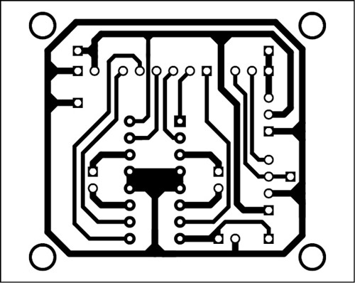 Fig. 7: An actual-size, single-side PCB for the soccer robot
