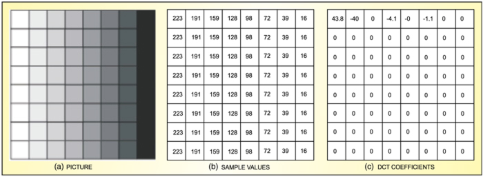 Fig. 9: DCT coefficients of a grey-scale 8×8 block